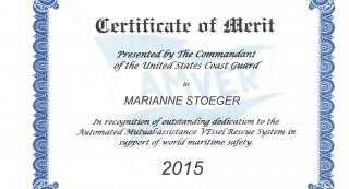 Certificate of Merit Marianne Stoeger